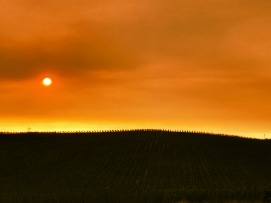 Sunset trying to peek through a smoky horizon
